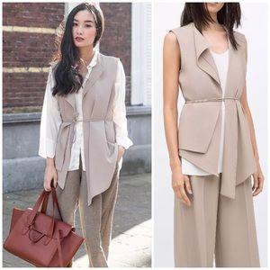 Zara Drape Waterfall Open Front Vest Waistcoat
